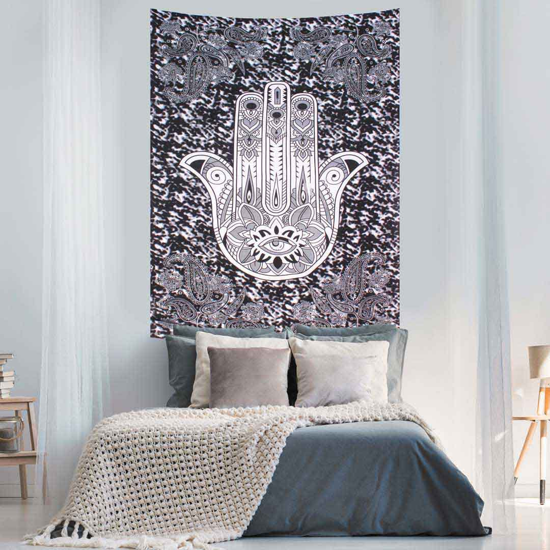 Hamsa Hand Black and White Screen Printed Queen Twin Tapestry