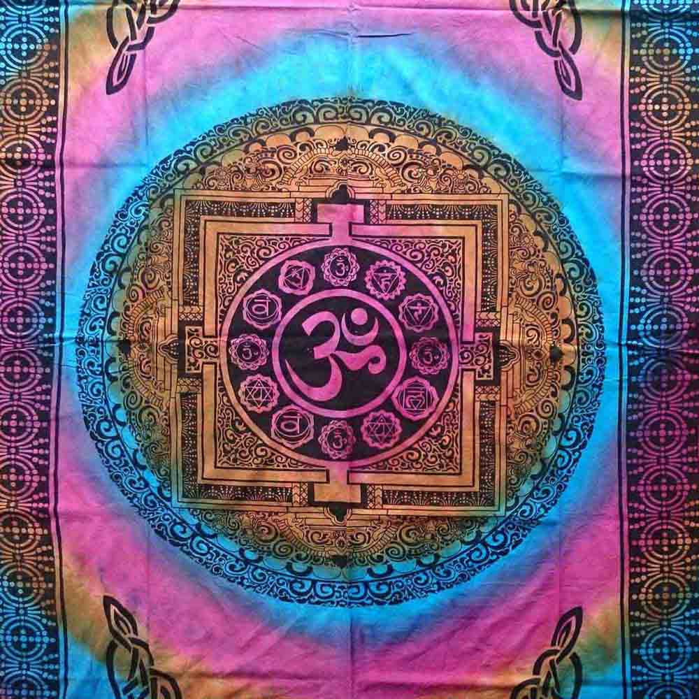 Multicolor Om Tye Dye Twin Queen Screen Printed Tapestry