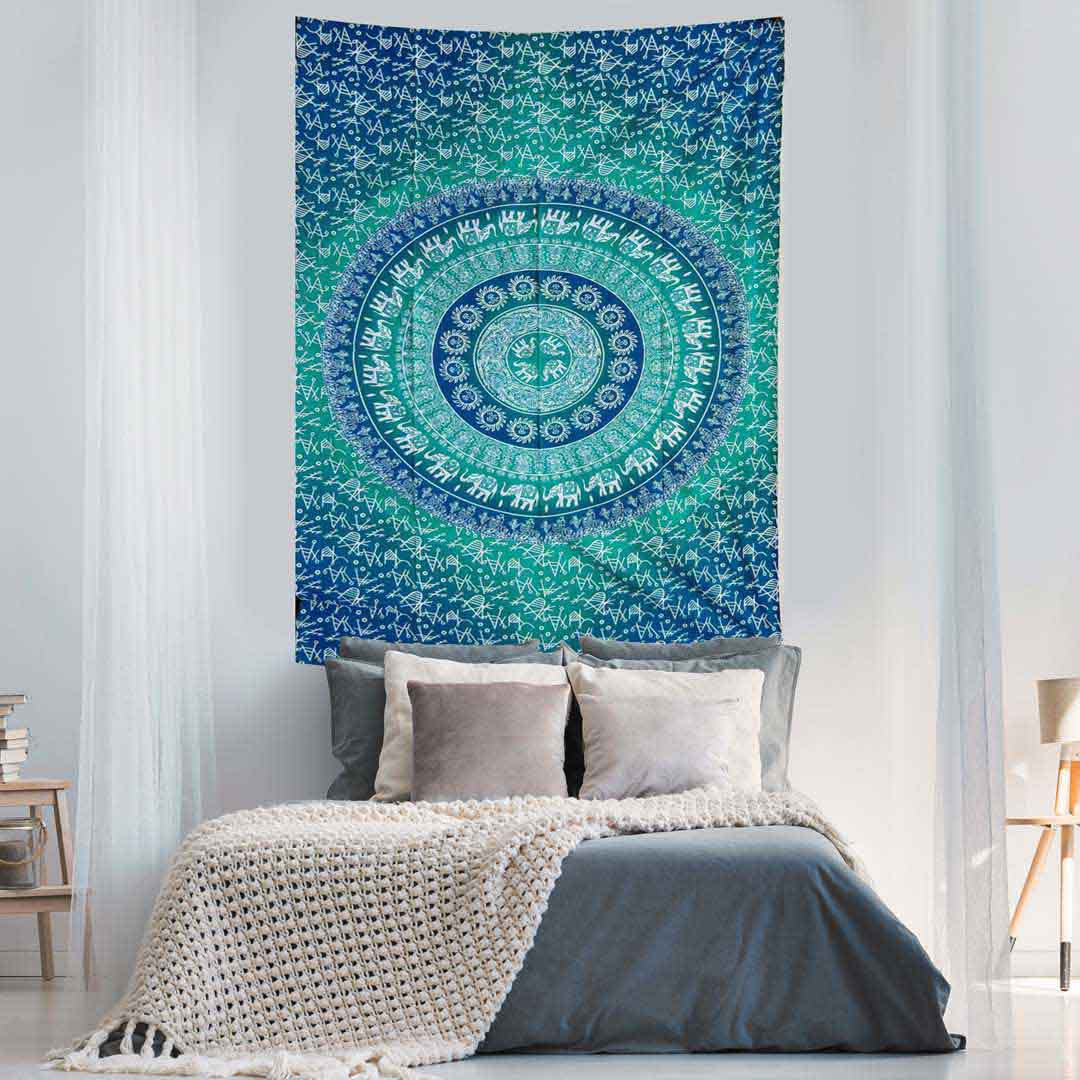 Elephant Mandala Ombre Blue Green Screen Printed Queen Twin Tapestry