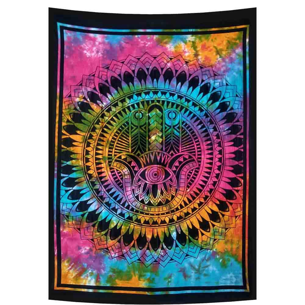 Hamsa Hand Tie Dye Feathers Small Cotton Screen Printed Wall Hanging Tapestry