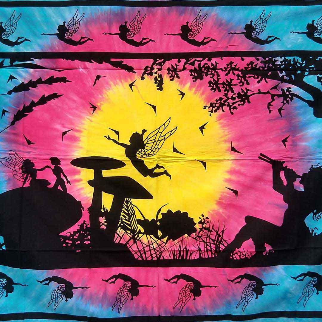 Flute Girl Fairy Tye Dye Screen Printed Queen Twin Tapestry