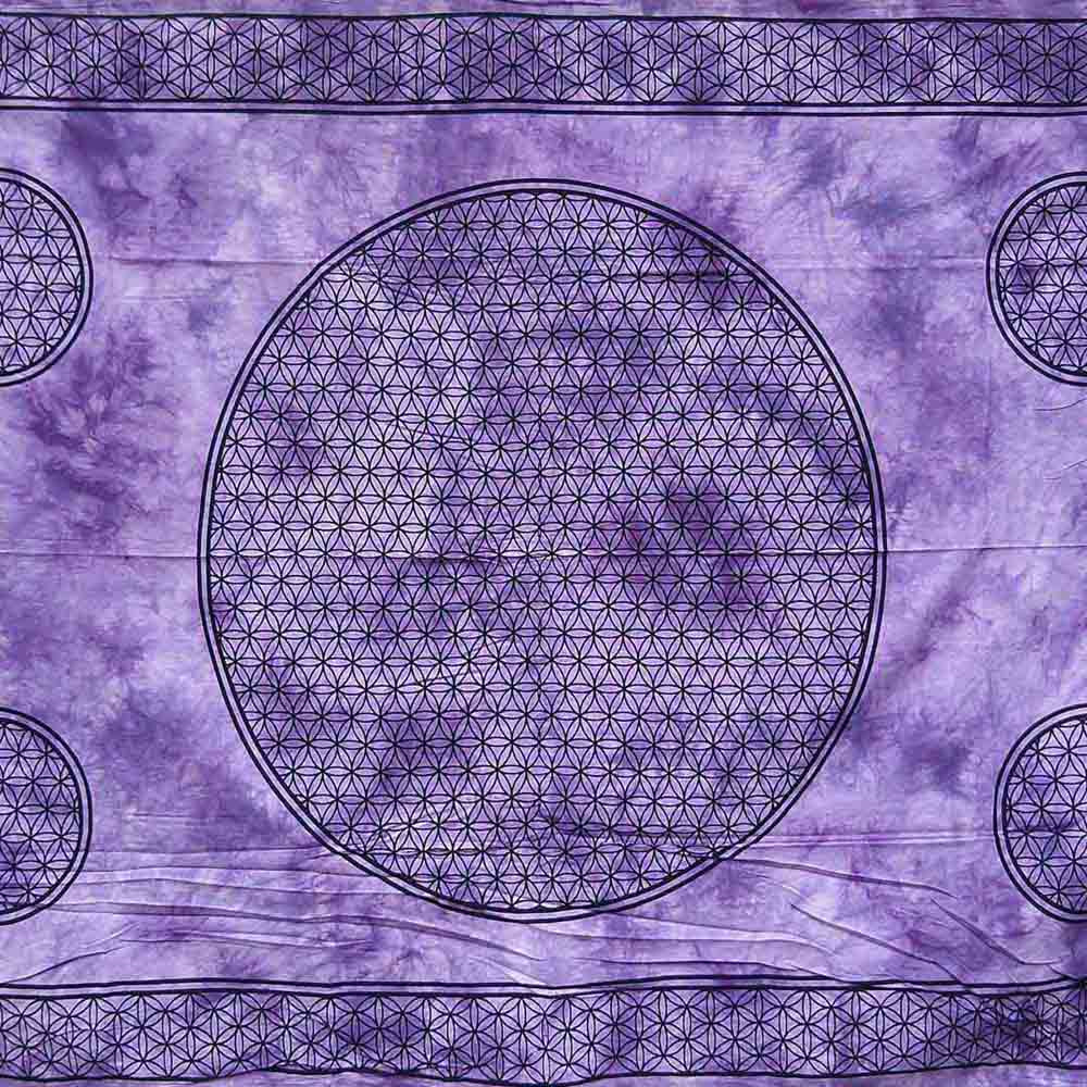 Purple Dye Flower of Life Screen Printed Queen Twin Tapestry