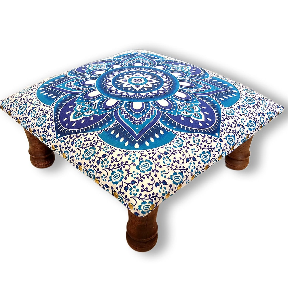 White Blue Screen Printed wooden Footrest Stool