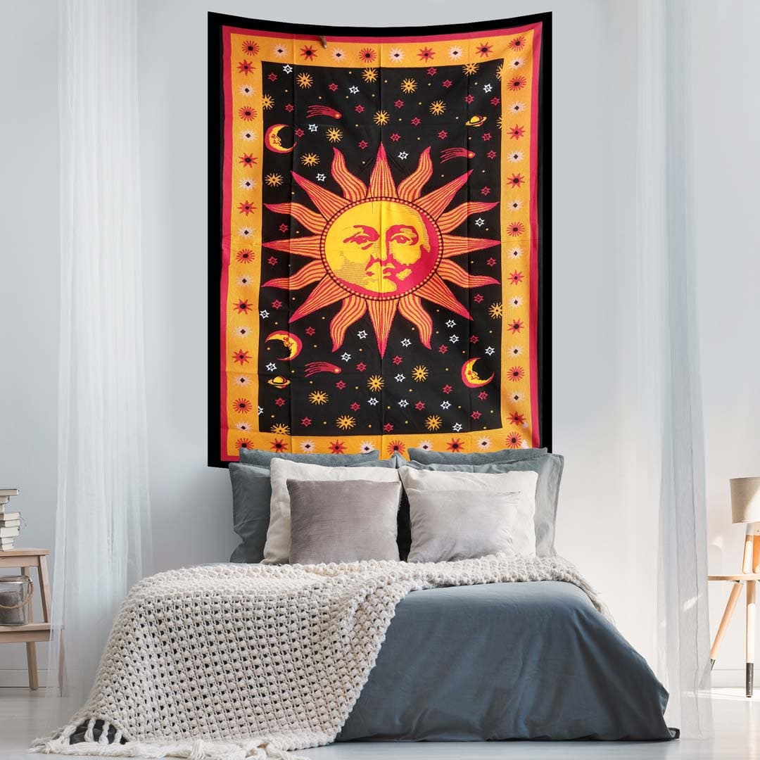 Burning Sun Moon Stars Orange Screen Printed Queen Twin Tapestry