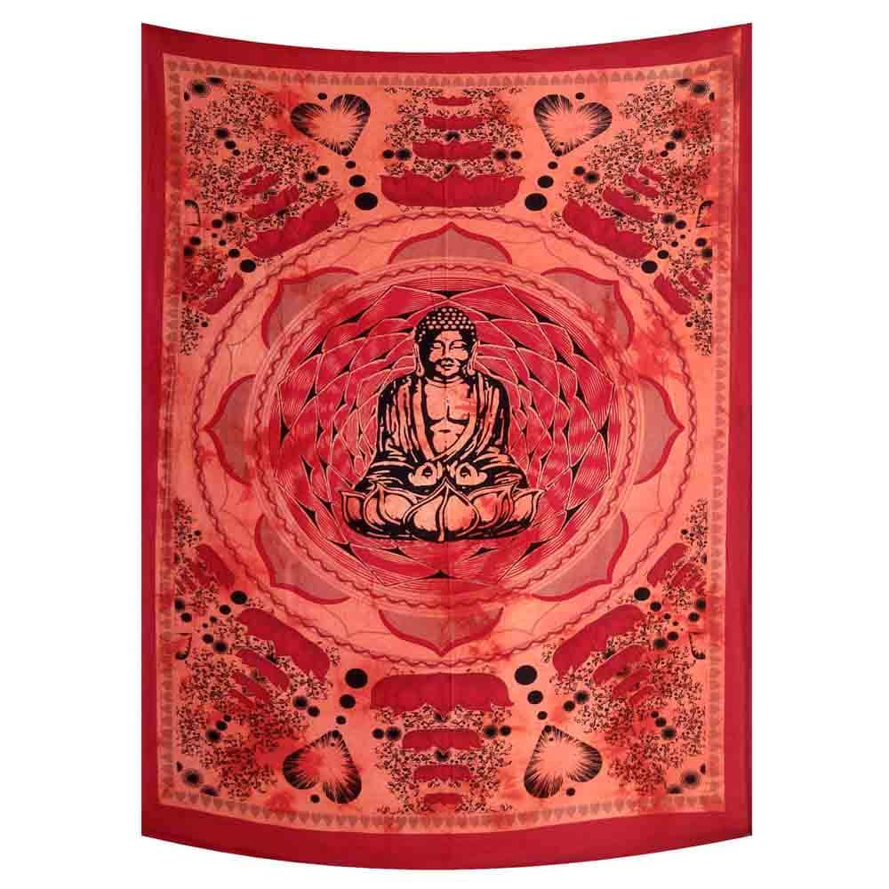 Red Lotus Buddha Tie Dye Small Cotton Screen Printed Wall Hanging Tapestry