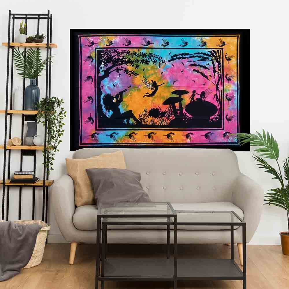 Multicolor Flute Girl Tie Dye Small Cotton Screen Printed Wall Hanging Tapestry