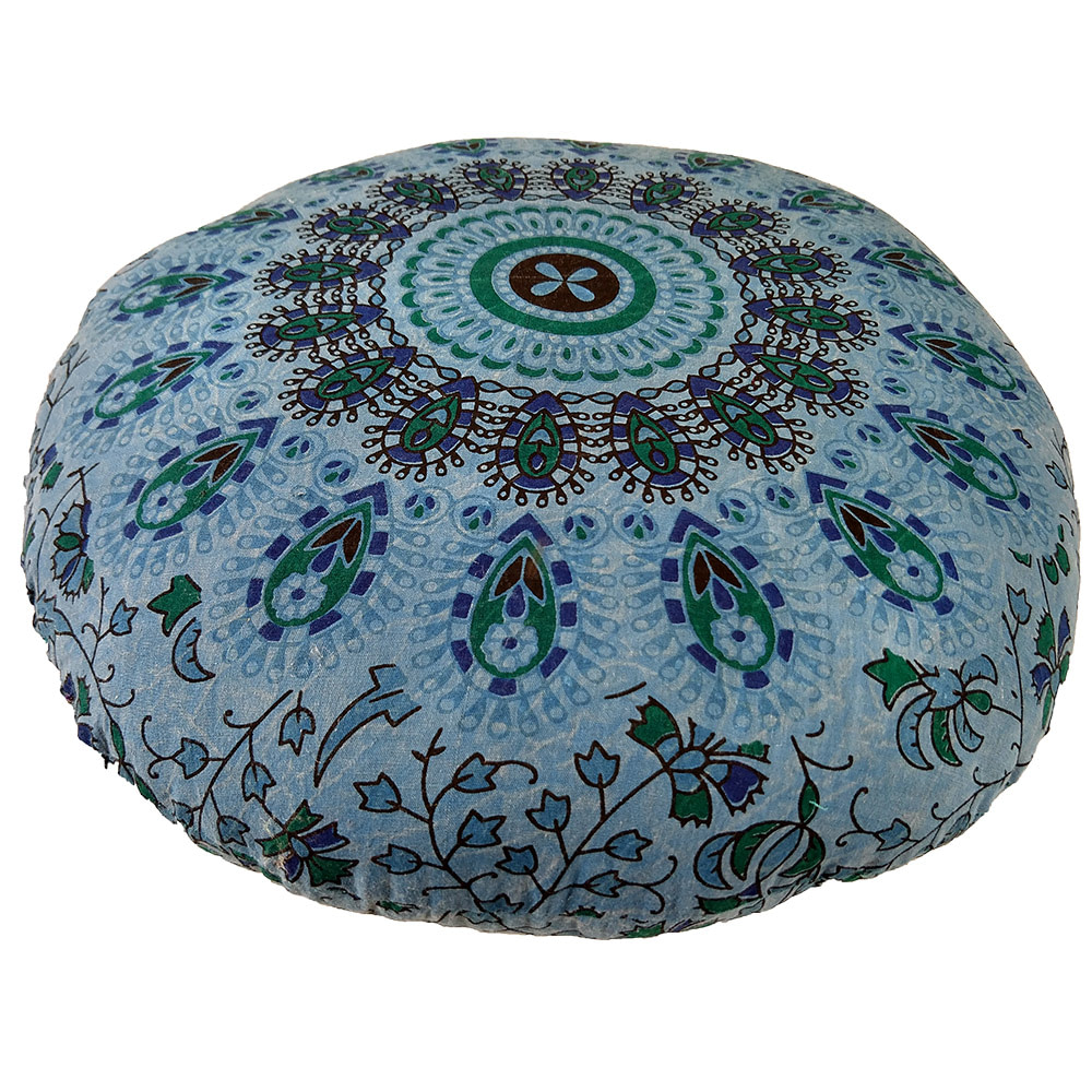 Stone Wash Blue Screen Print Cotton Meditation Cushion
