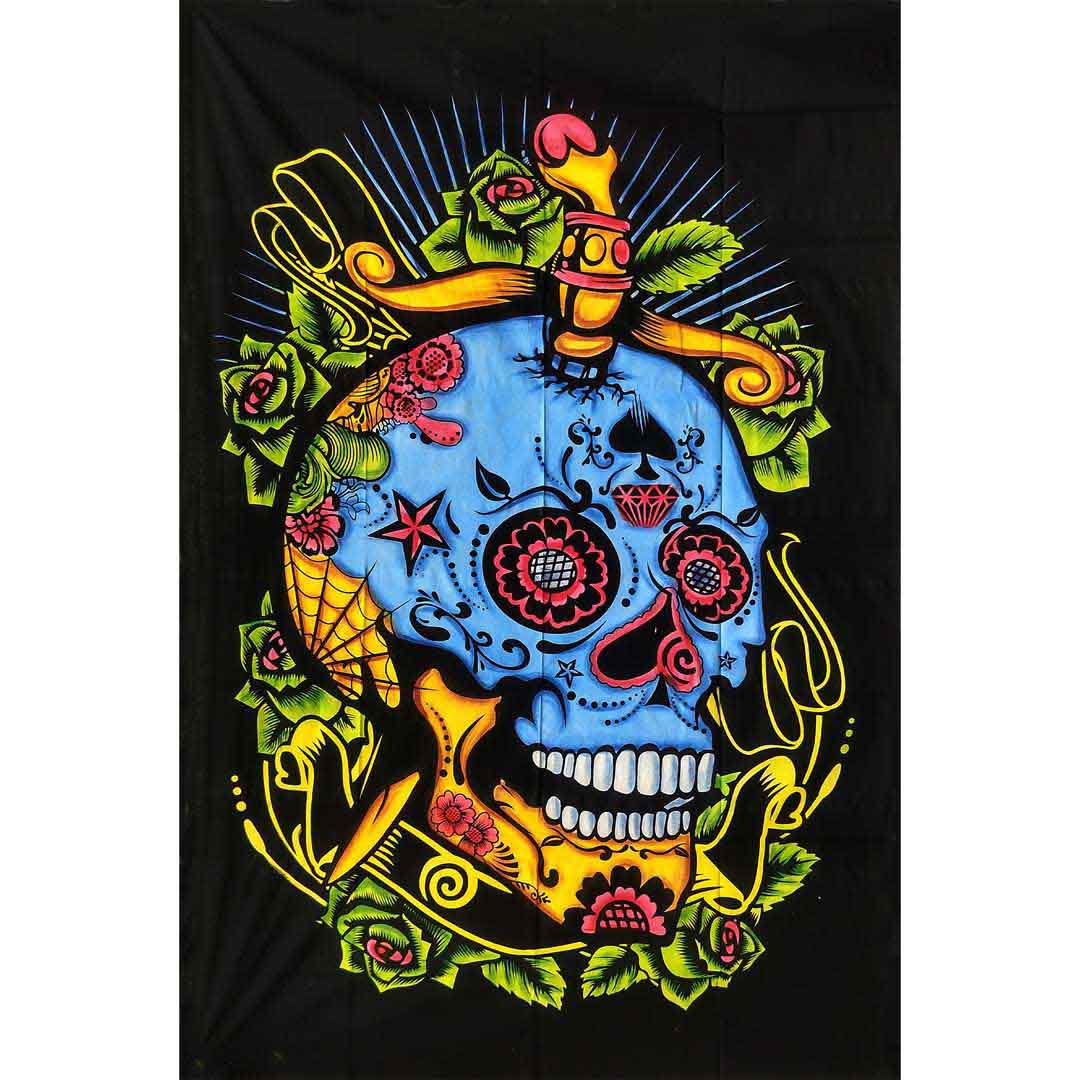 Multicolor Handbrush Skull Queen Twin Screen Printed Tapestry