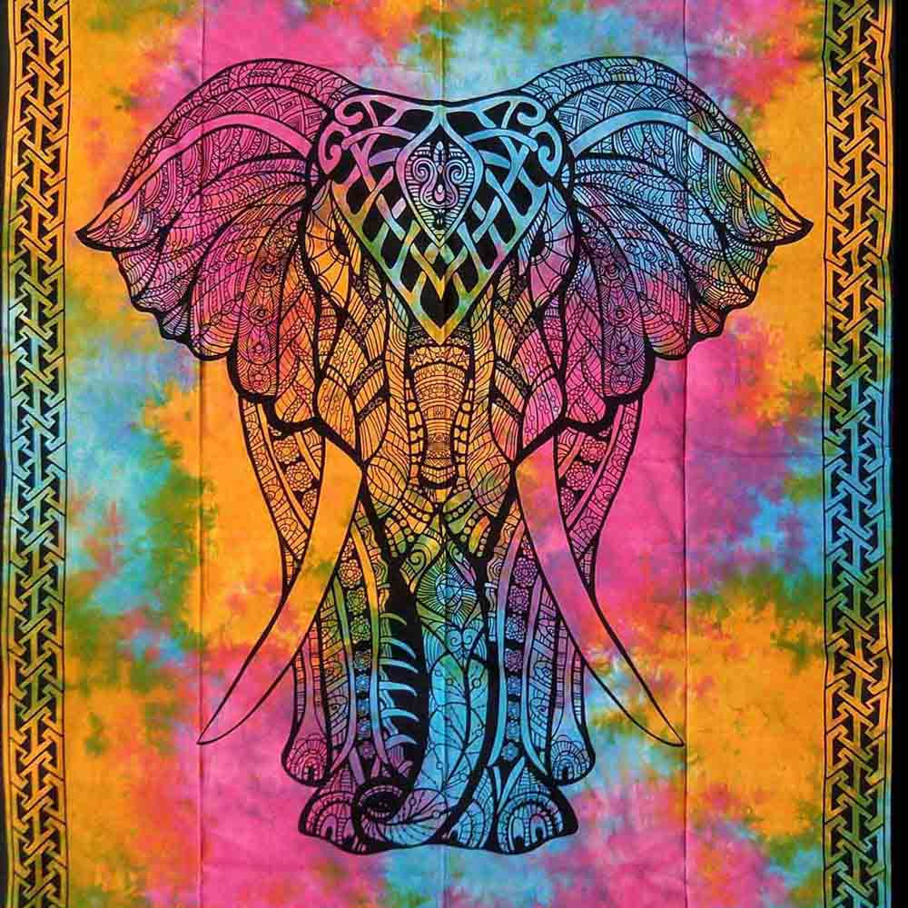 Multi Color Tye Dye Screen Printed Elephant Queen Twin Tapestry