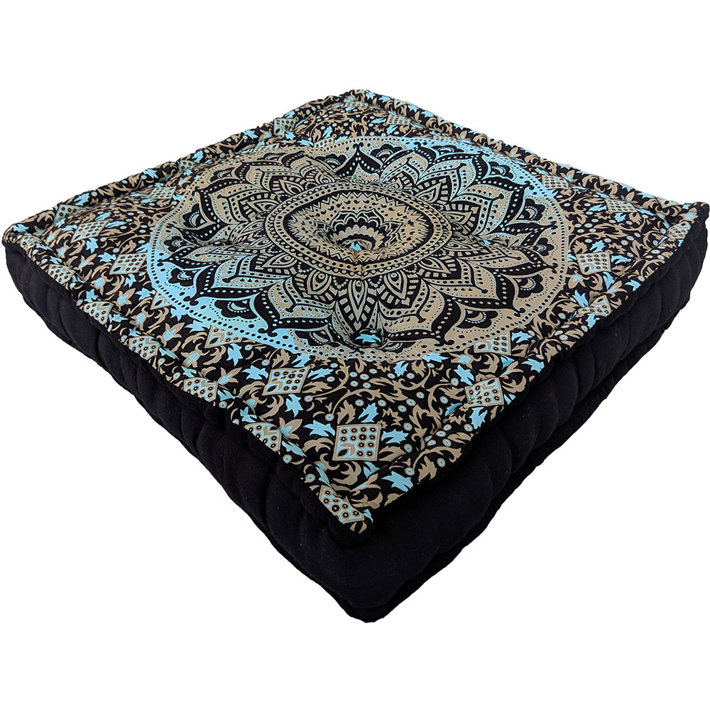 Sky Blue Fluorescent Cotton Meditation Cushion