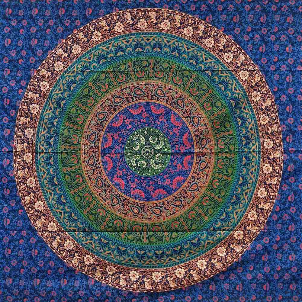 Six Kaam Mandala Blue Screen Printed Queen Twin Tapestry
