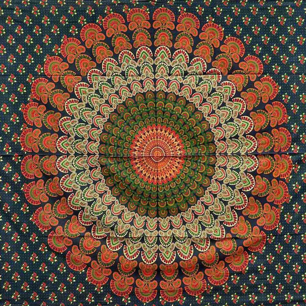 Blue Red Green Peacock Feather Mandala Screen Printed Tapestry
