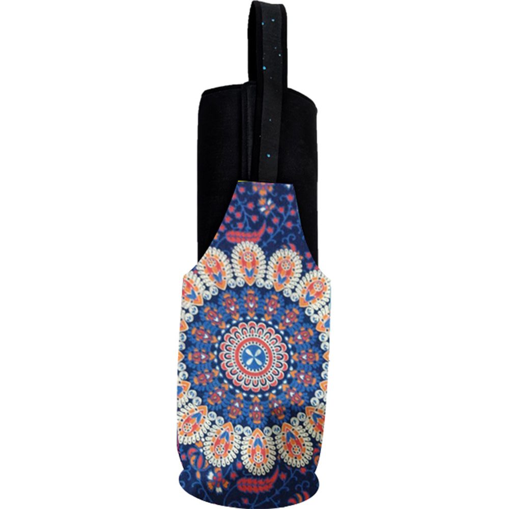 Blue Red Mandala Long Tote Yoga Mat Bag Cotton Screen Printed
