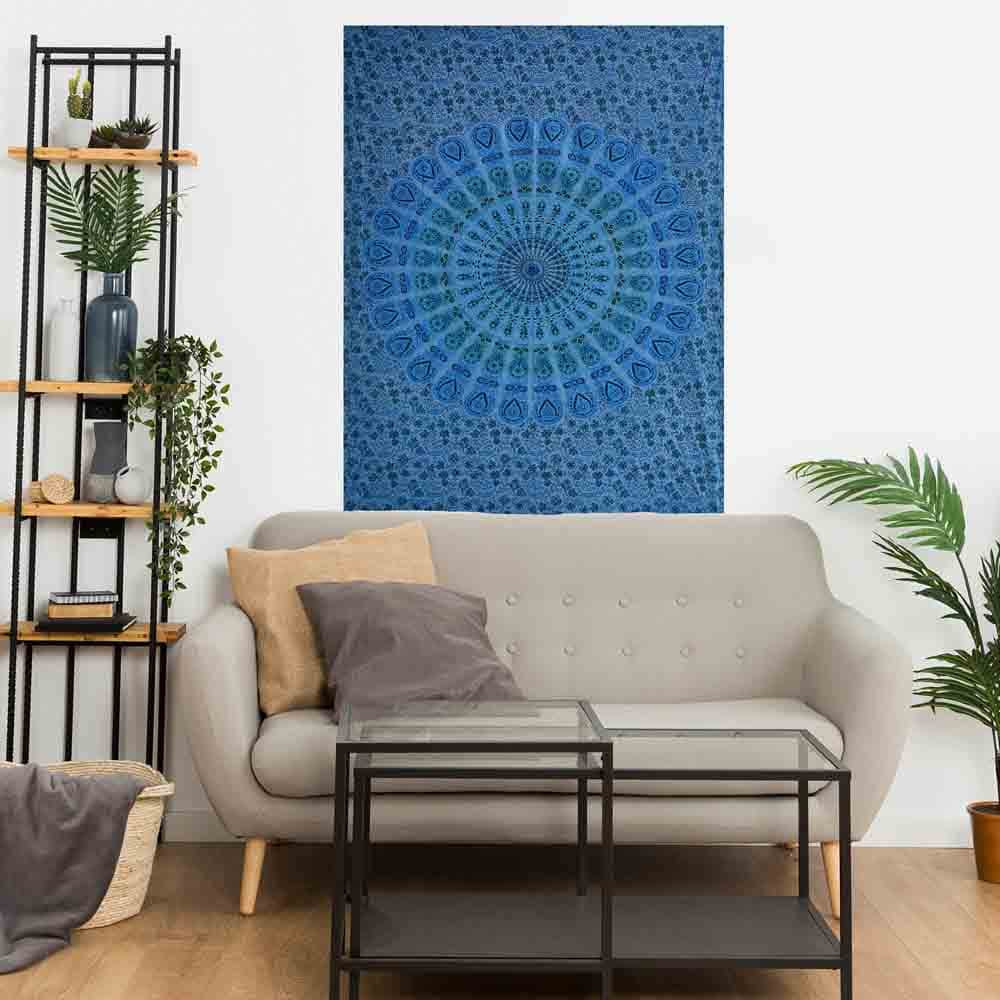 Dark Blue Peacock Feather Mandala Small Cotton Screen Printed Wall Hanging Tapestry