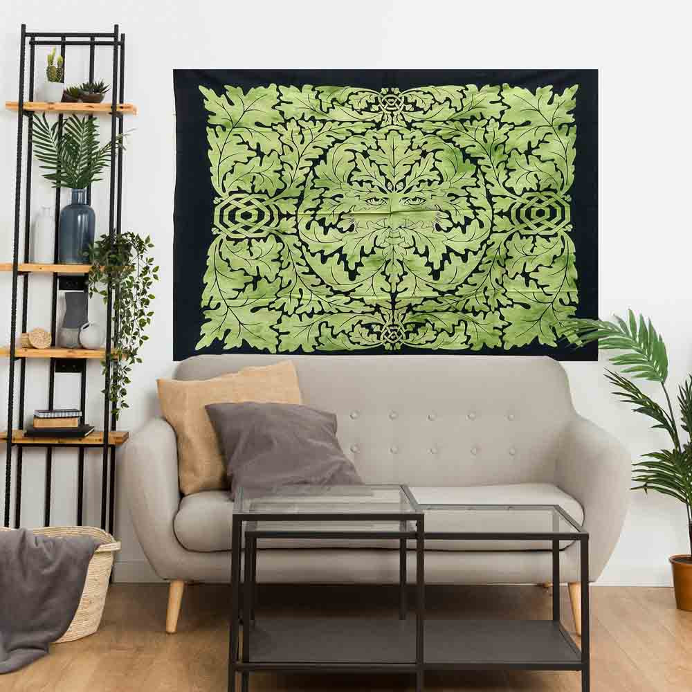 Green Father Nature Tie Dye Small Cotton Screen Printed Wall Hanging Tapestry