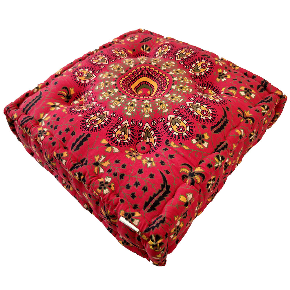 Red Screen Print Cotton Meditation Cushion