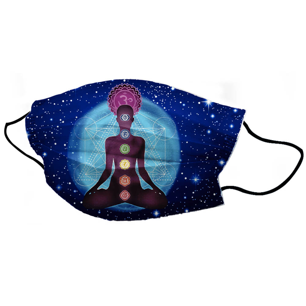 Blue Chakra Yoga Man Unisex Cotton Face Mask