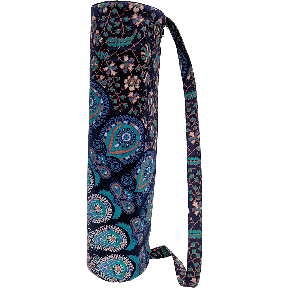 Turquoise Mandala Duffle Yoga Mat Bag Cotton Screen Printed