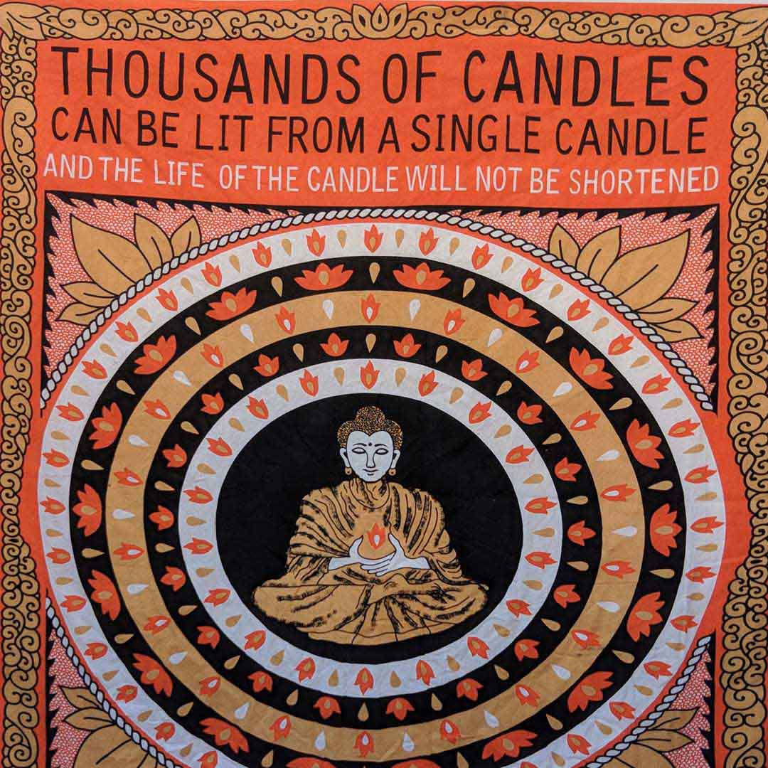 Buddha Happiness Orange Black Screen Printed Queen Twin Tapestry