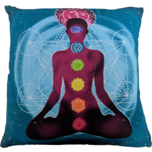 Turquoise Screenprint Cotton 16″ × 16″ Pillow