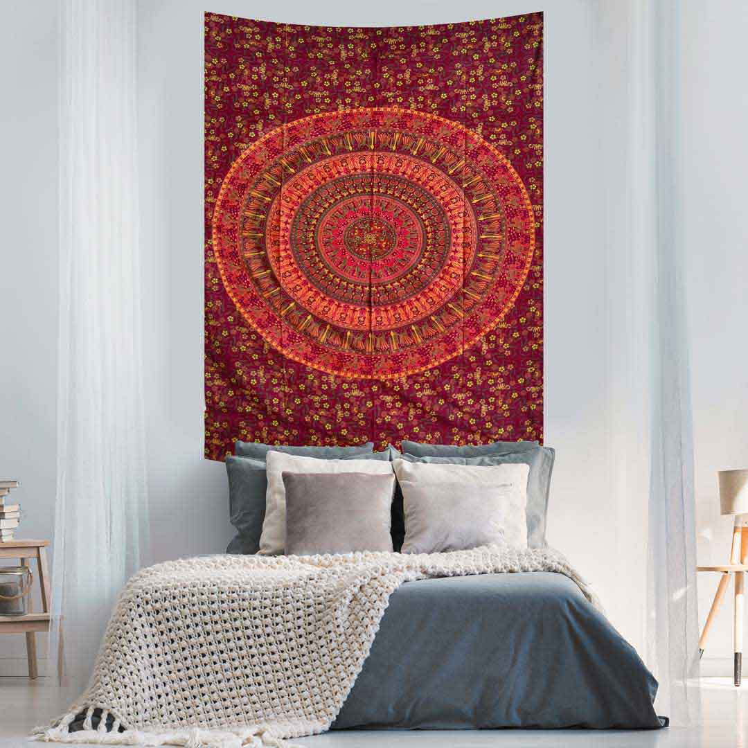 Red Peacock Couple Queen Mandala Twin Screen Printed Tapestry