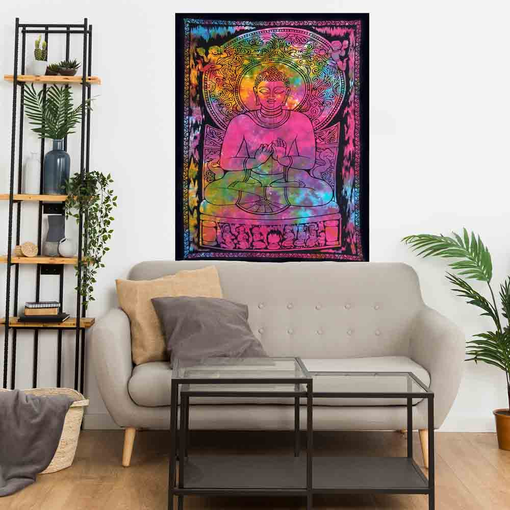Tie Dye Buddha Small Cotton Screen Printed Wall Hanging Tapestry