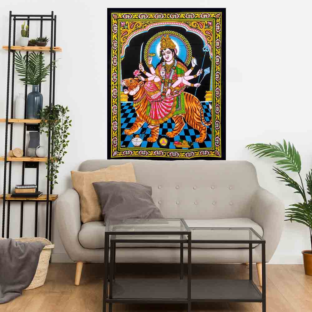 Goddess Durga Small Cotton Screen Printed Wall Hanging Tapestry