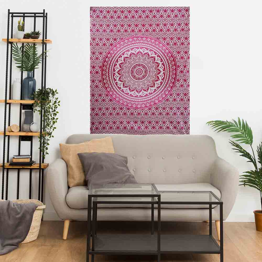 Red Ombre Gumbad Small Cotton Screen Printed Wall Hanging Tapestry
