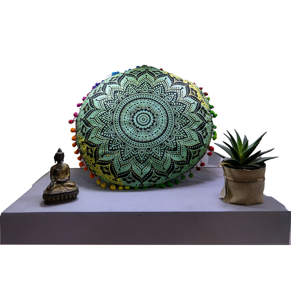 Green Fluorescent Cotton Meditation Cushion