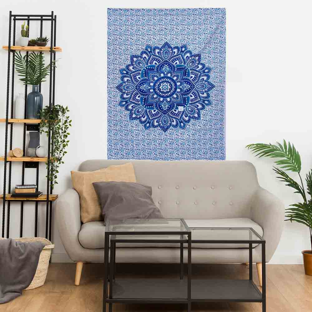 Blue Lotus Ombre Gumbad Small Cotton Screen Printed Wall Hanging Tapestry