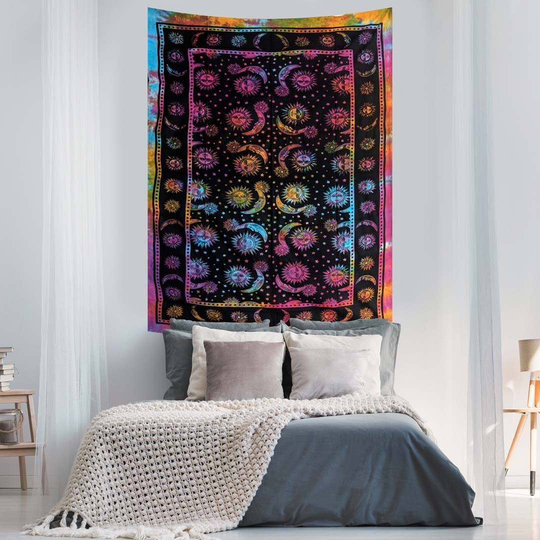 Multicolor Sun Moon Stars  Tye Dye Twin Queen Screen Printed Tapestry