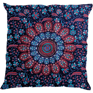 Night Blue Screen Print Cotton 16″ × 16″ Pillow
