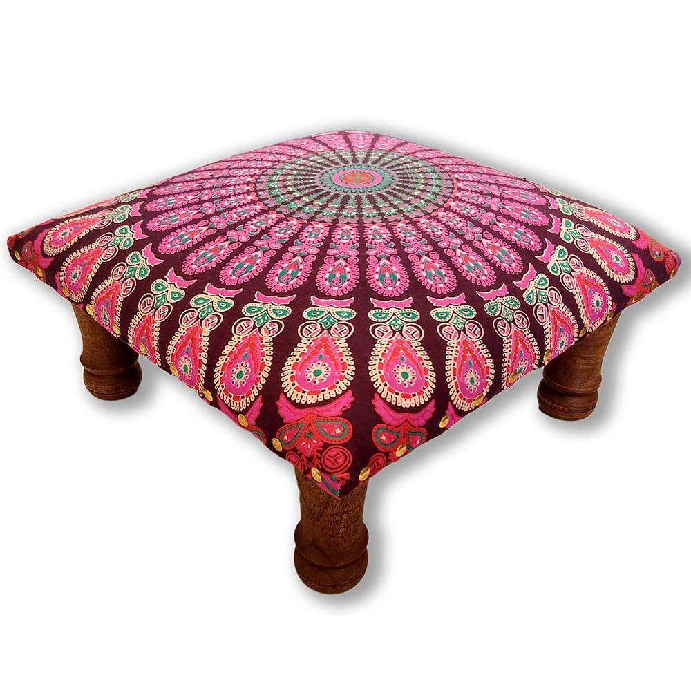 Pink Red Mandala Screen Printed wooden Footrest Stool