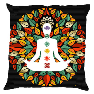 Yoga Man Chakra Multicolour Digital Cotton 16″ × 16″ Pillow