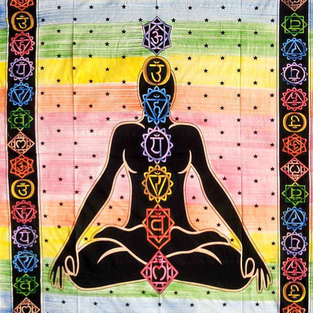 Multicolor Handbrush Yoga Man Queen Twin Screen Printed Tapestry