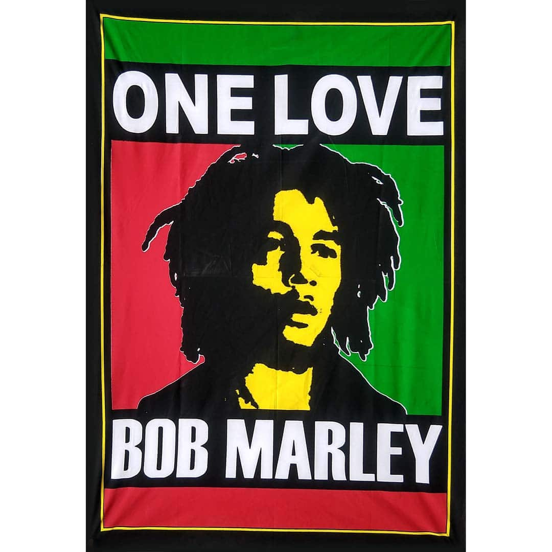 One Love Bob Marley Screen Printed Queen Twin Tapestry