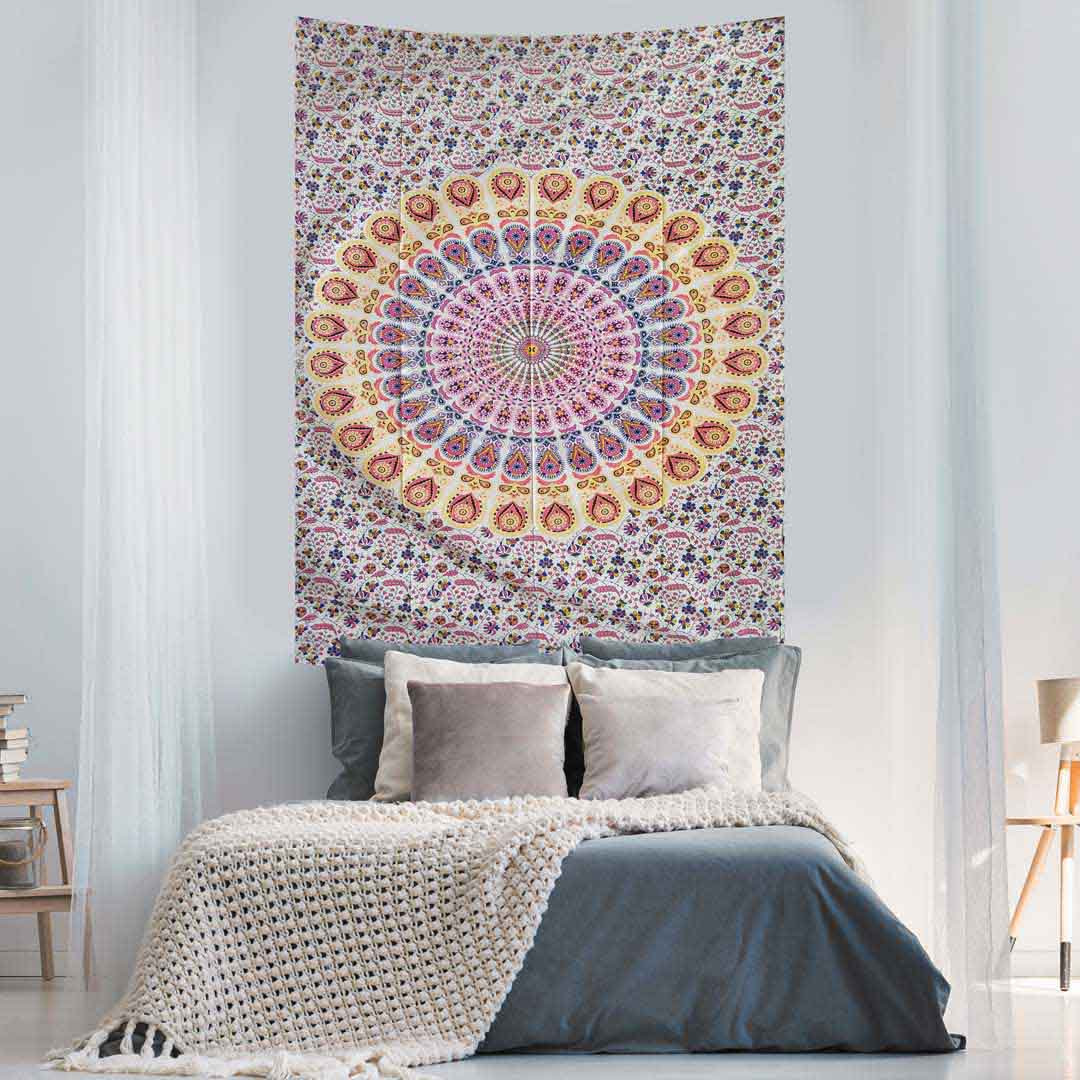 Pink Yellow Peacock Feather Mandala Screen Printed Queen Twin Tapestry