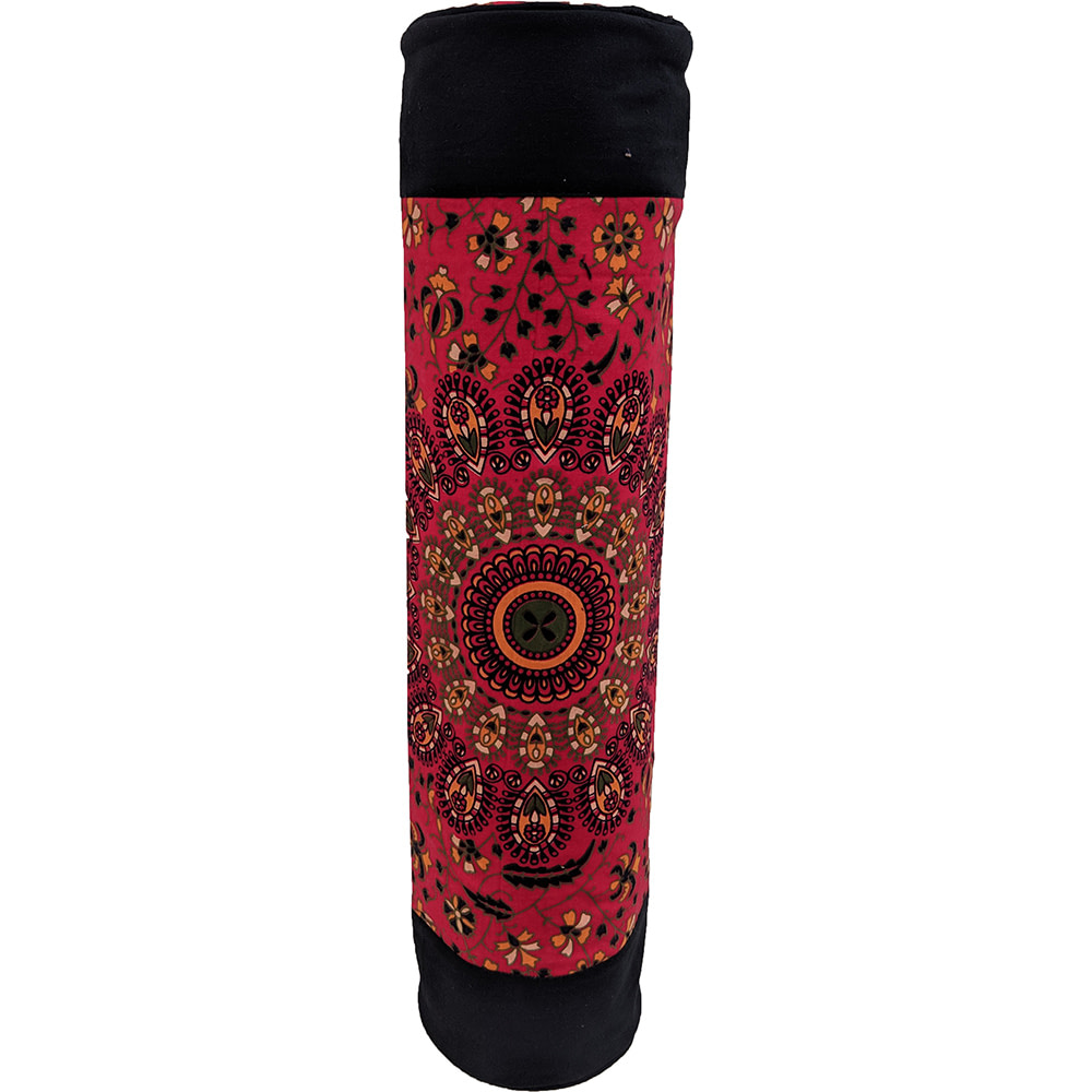 Red Mandala Duffle Yoga Mat Bag Cotton Screen Printed