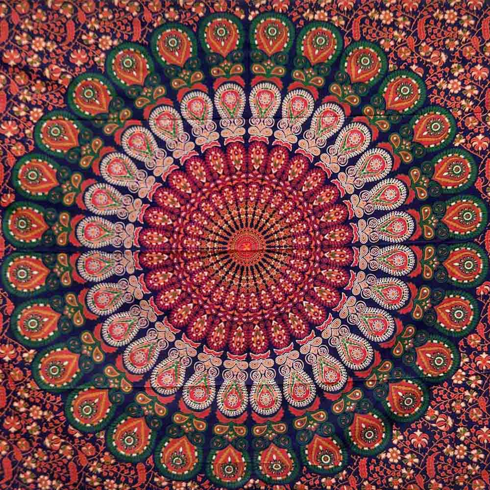 Red Blue Peacock Feather Mandala Screen Printed Queen Twin Tapestry