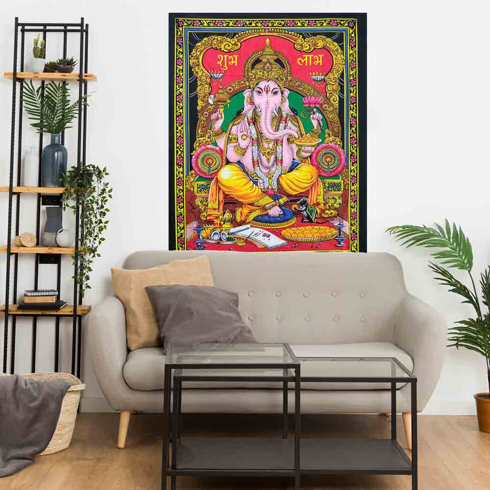 Ganesha Shubh Labh Hindu God Small Cotton Screen Printed Wall Hanging Tapestry