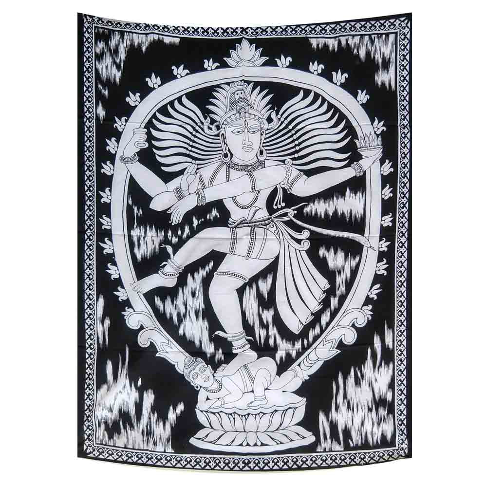 God Natraj Black and White Small Cotton Screen Printed Wall Hanging Tapestry