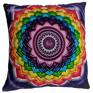 Multicolour Digital Chakre Cotton 16″ × 16″ Meditation Pillow