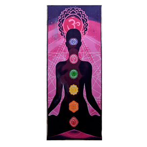 Purple Pink Yoga Man Chakra Screen Printed Cotton 9 mm Yoga Mat