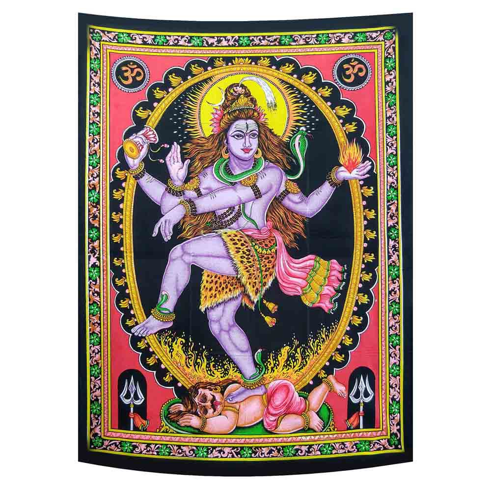 God Shiva Small Cotton Screen Printed Wall Hanging Tapestry