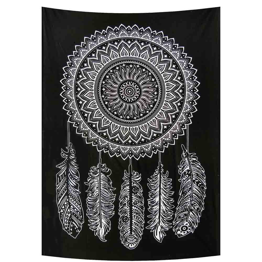 Black and White Dream Catcher 5 Feathers Small Cotton Screen Printed Wall Hanging Tapestry