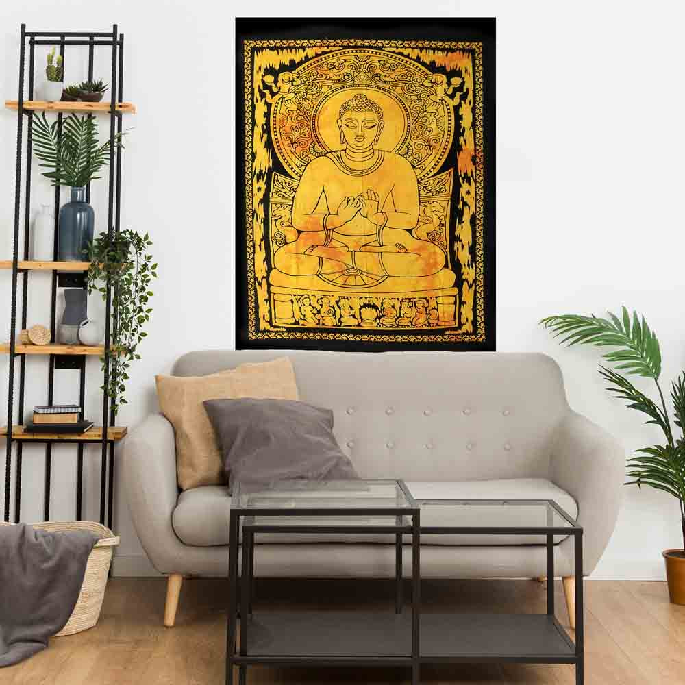Yellow Lotus Buddha Tie Dye Small Cotton Screen Printed Wall Hanging Tapestry