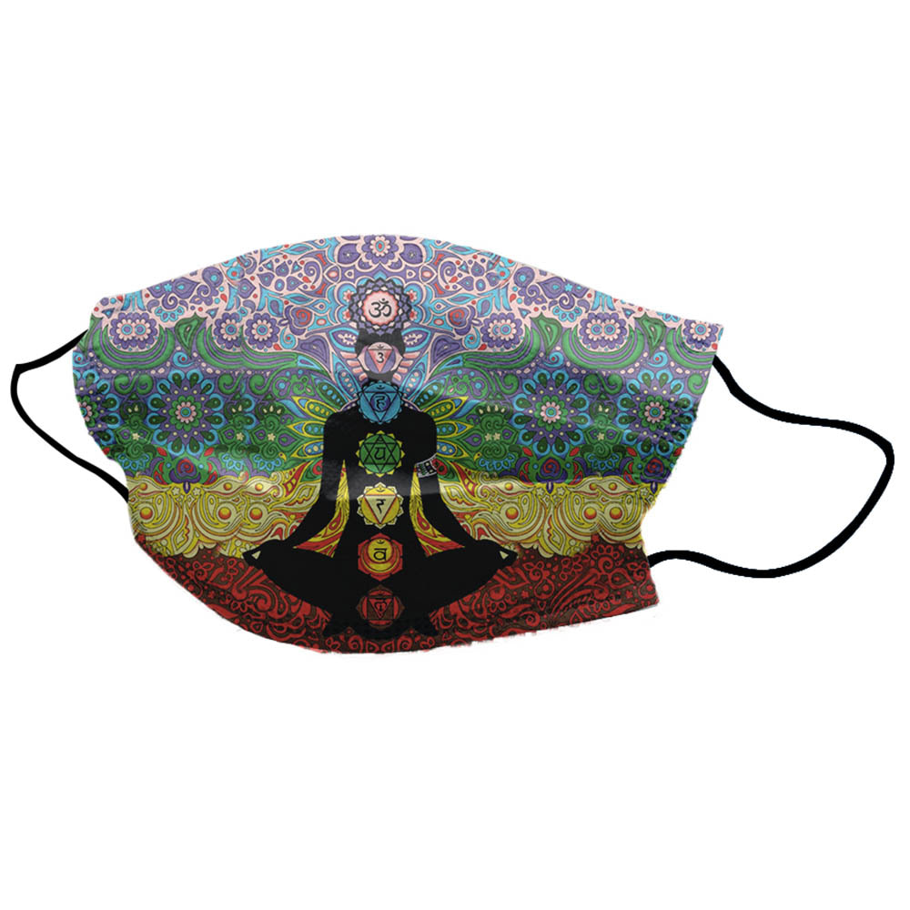 Multicolor Yoga Man Chakra Unisex Cotton Face Mask