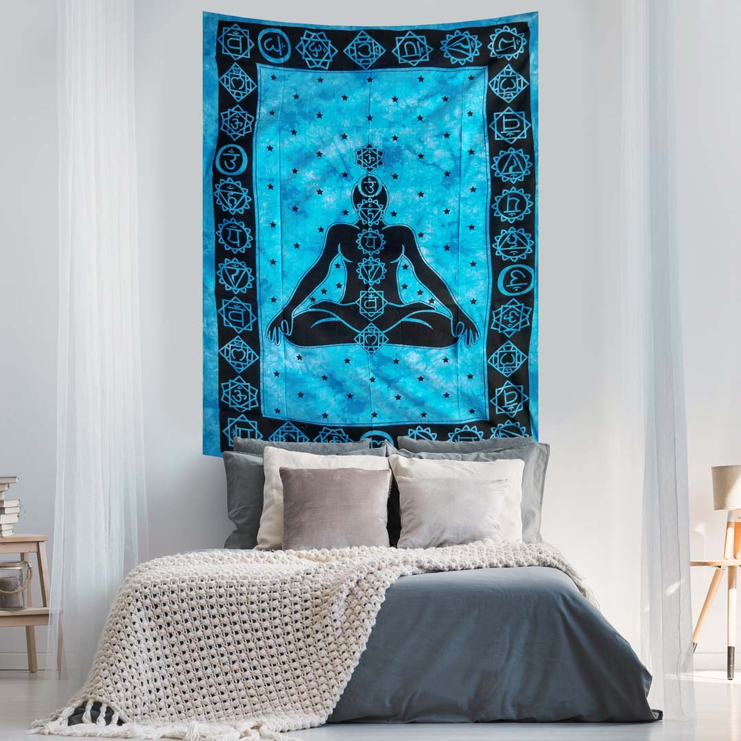 Blue Tye Dye Yoga Man Queen Twin Screen Printed Tapestry