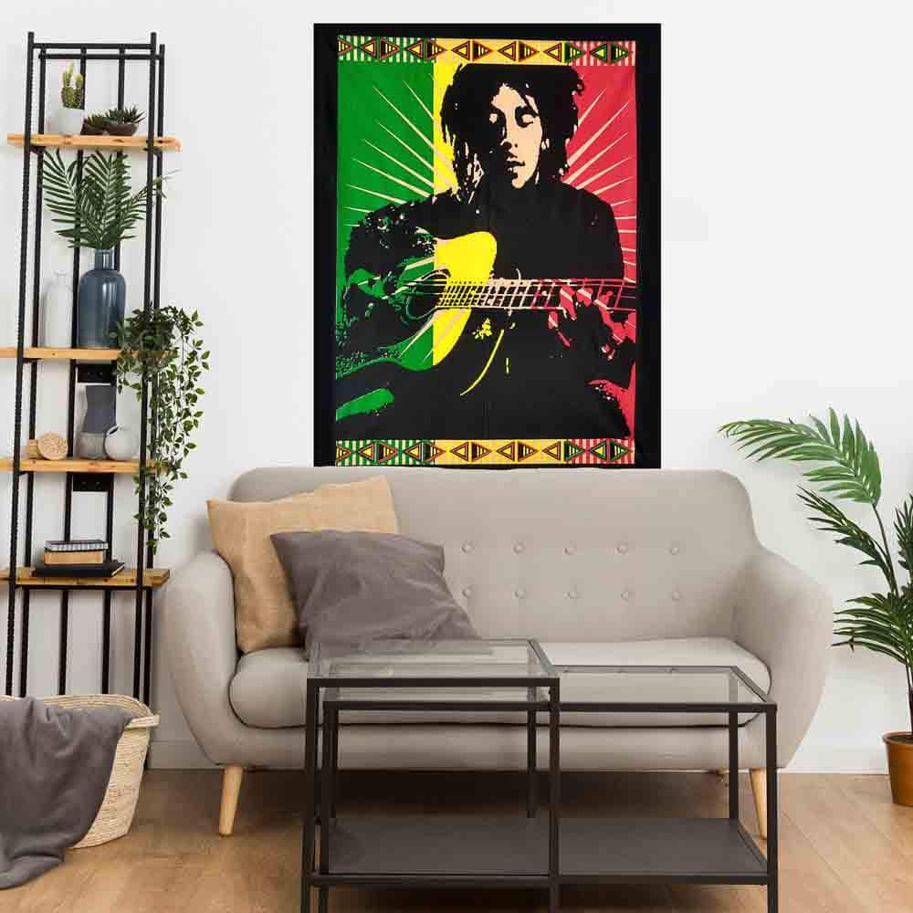 Bob Marley Rasta Guitar Small Cotton Screen Printed Wall Hanging Tapestry