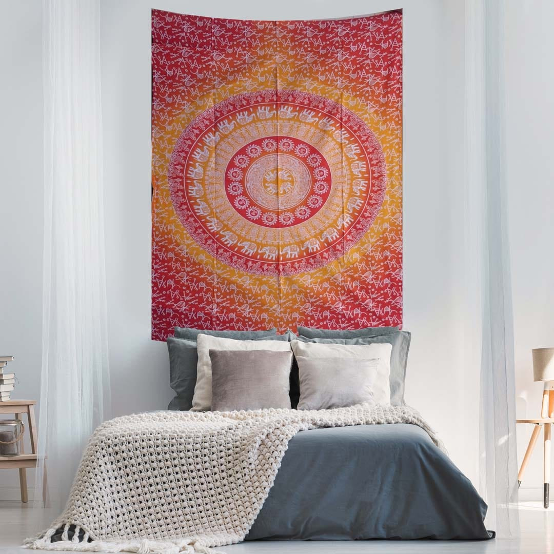 Elephant Mandala Ombre Red Yellow Screen Printed Queen Twin Tapestry